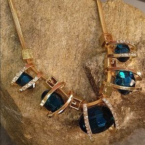 Jewelry - Teal Blue Stone Statement Necklace Gold-Tone
